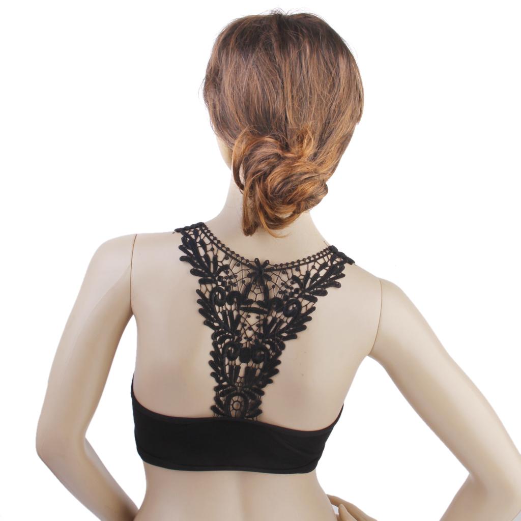 Women's Tank Top Padded Bra Vest Bralette Crochet Flower Back Black