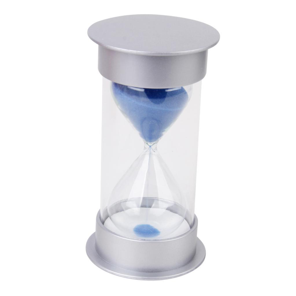 Five Minutes Hourglass Sandglass Sand Timer Home Decor Silver Lid Blue Sand