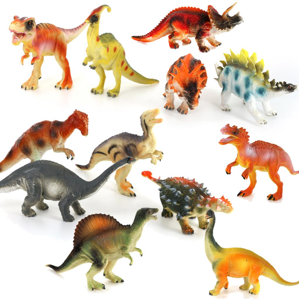 Plastic PVC Jurassic Dinosaur Set Kids Toy Gift 12pcs Multi-color