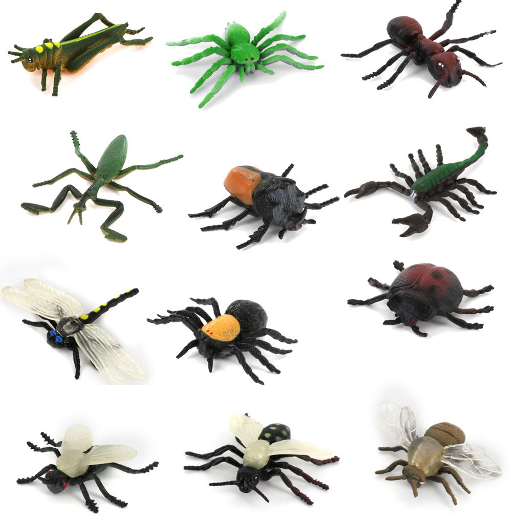 Plastic PVC Insect Animal Model Set Kids Toy 12pcs Multi-color