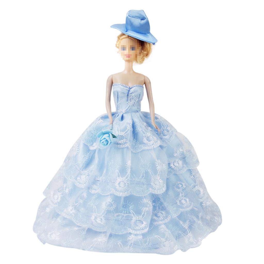 Bridal Wedding Gown 4-layer Mesh Floral Dress for Barbie Dolls Blue