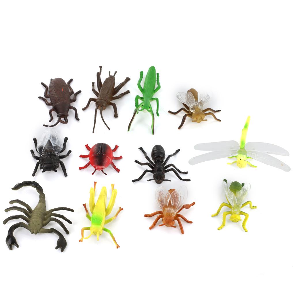 Plastic PVC Insect Animal Model Kids Toy 12pcs Multi-color