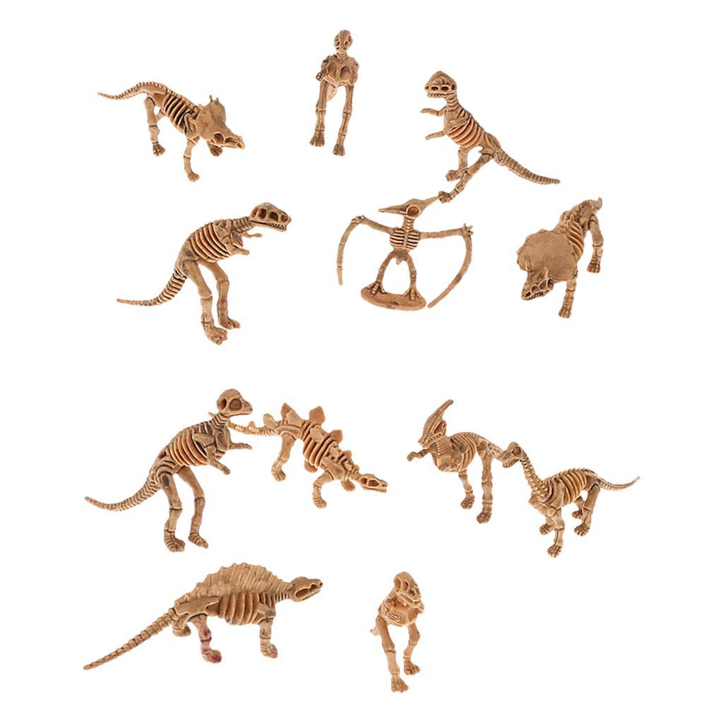 Novelty Assorted Dinosaur Fossil Skeleton Figures 12pcs