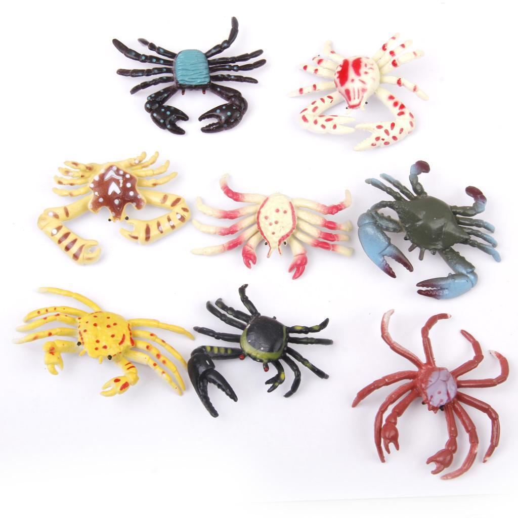 Plastic PVC Crab Model Kids Toy 8pcs Multi-color