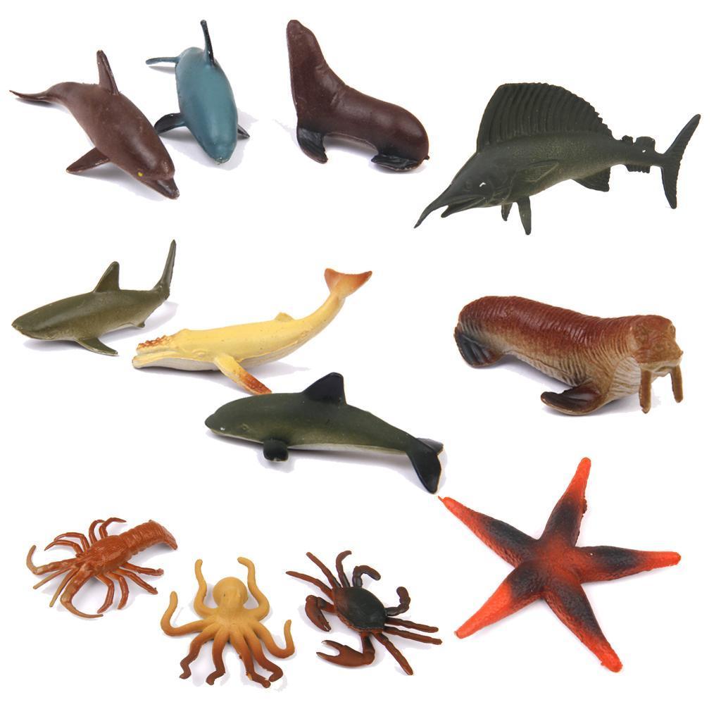 Plastic PVC Marine Animals Model Kids Toy 12pcs Multi-color