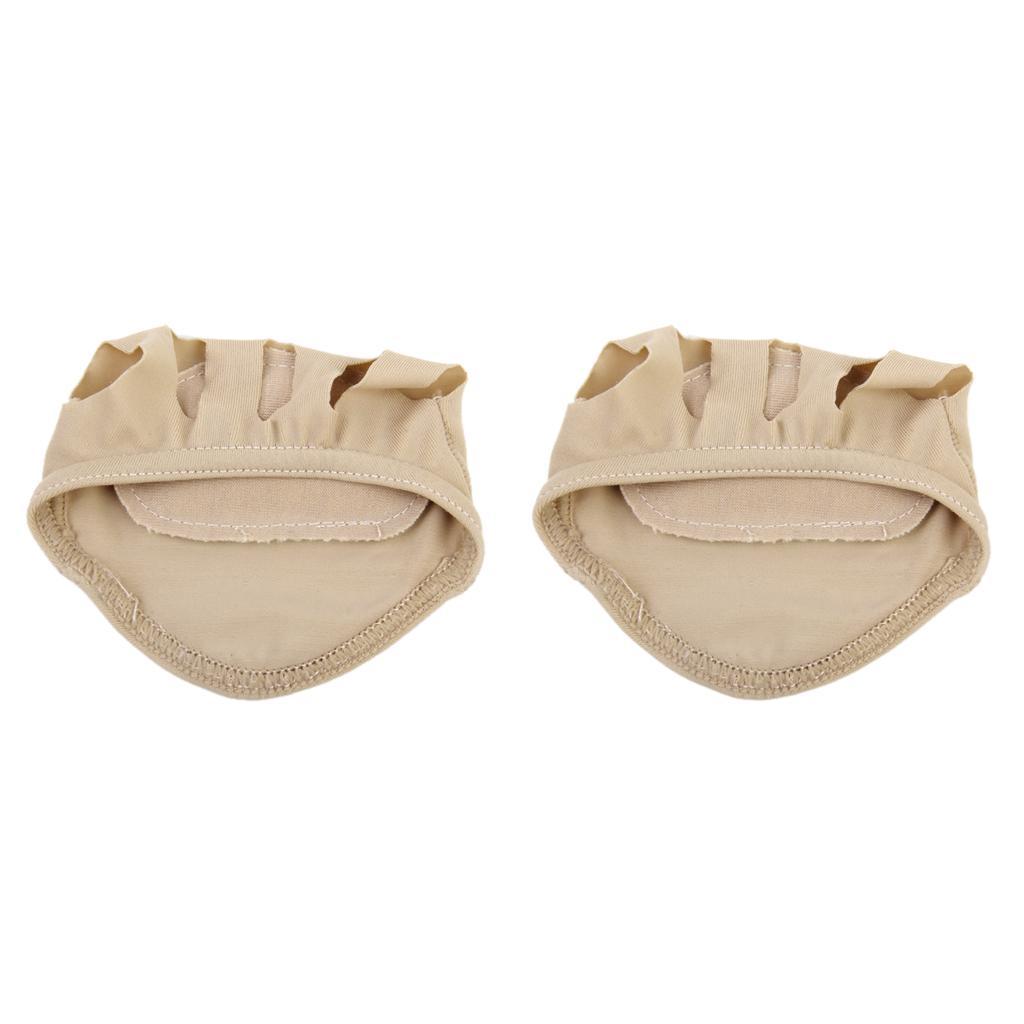 Footful Women Anti-slip 5-Toe Forefoot Socks Massage Cushions One Pair Nude