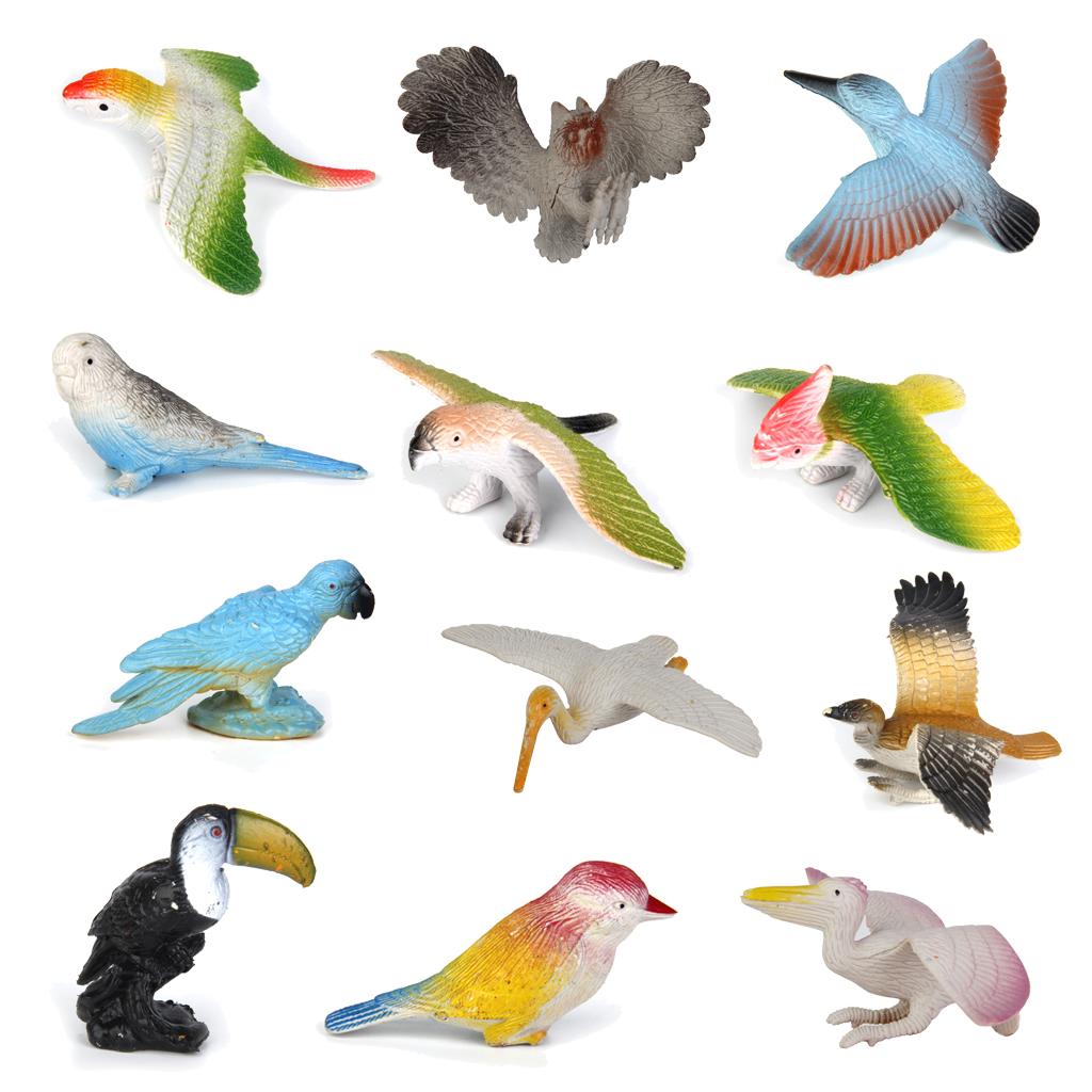 Plastic Birds Model Toy 12pcs Multi-color
