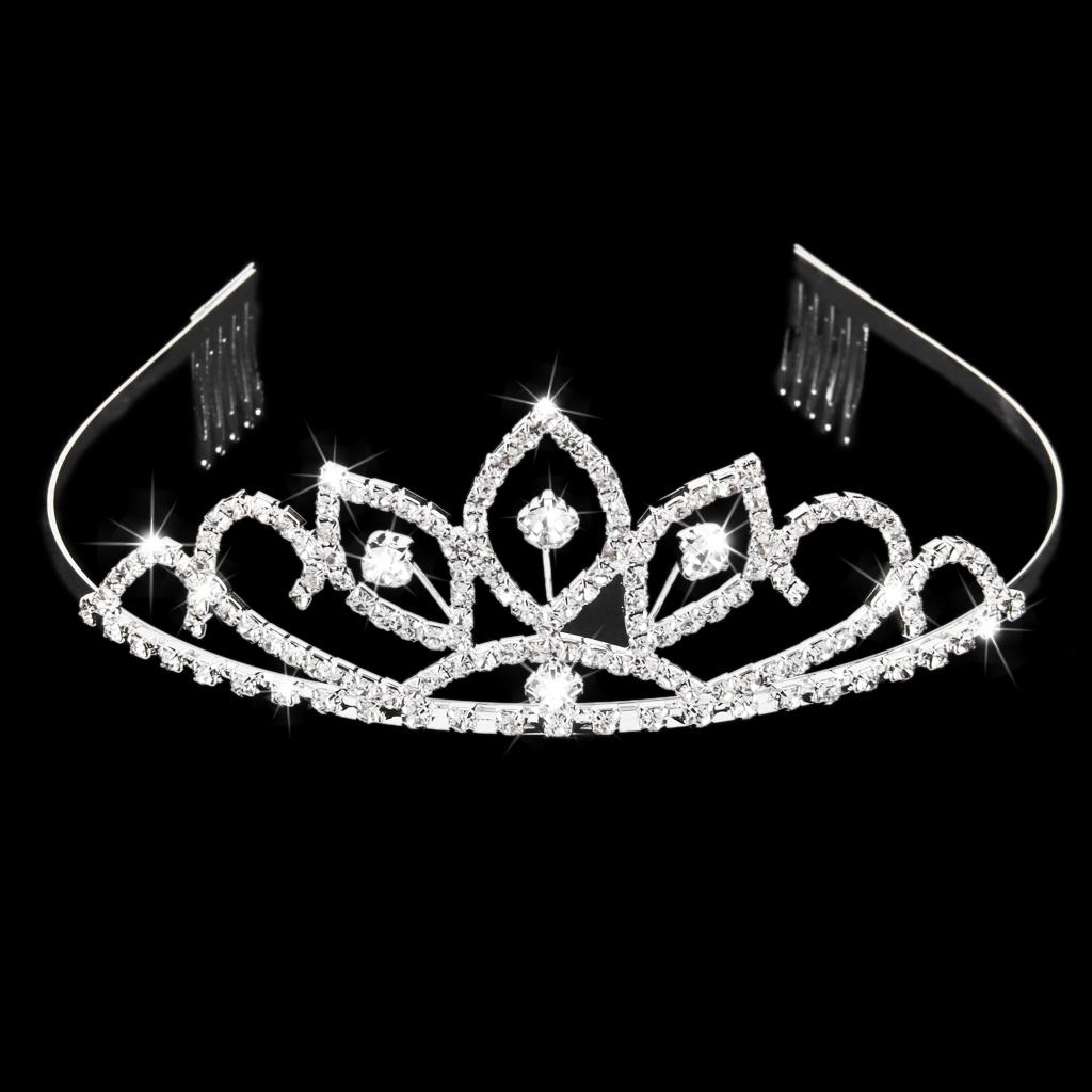 Rhinestone Crystal Crown Tiara Comb for Wedding Bridal Pageant Prom Silver