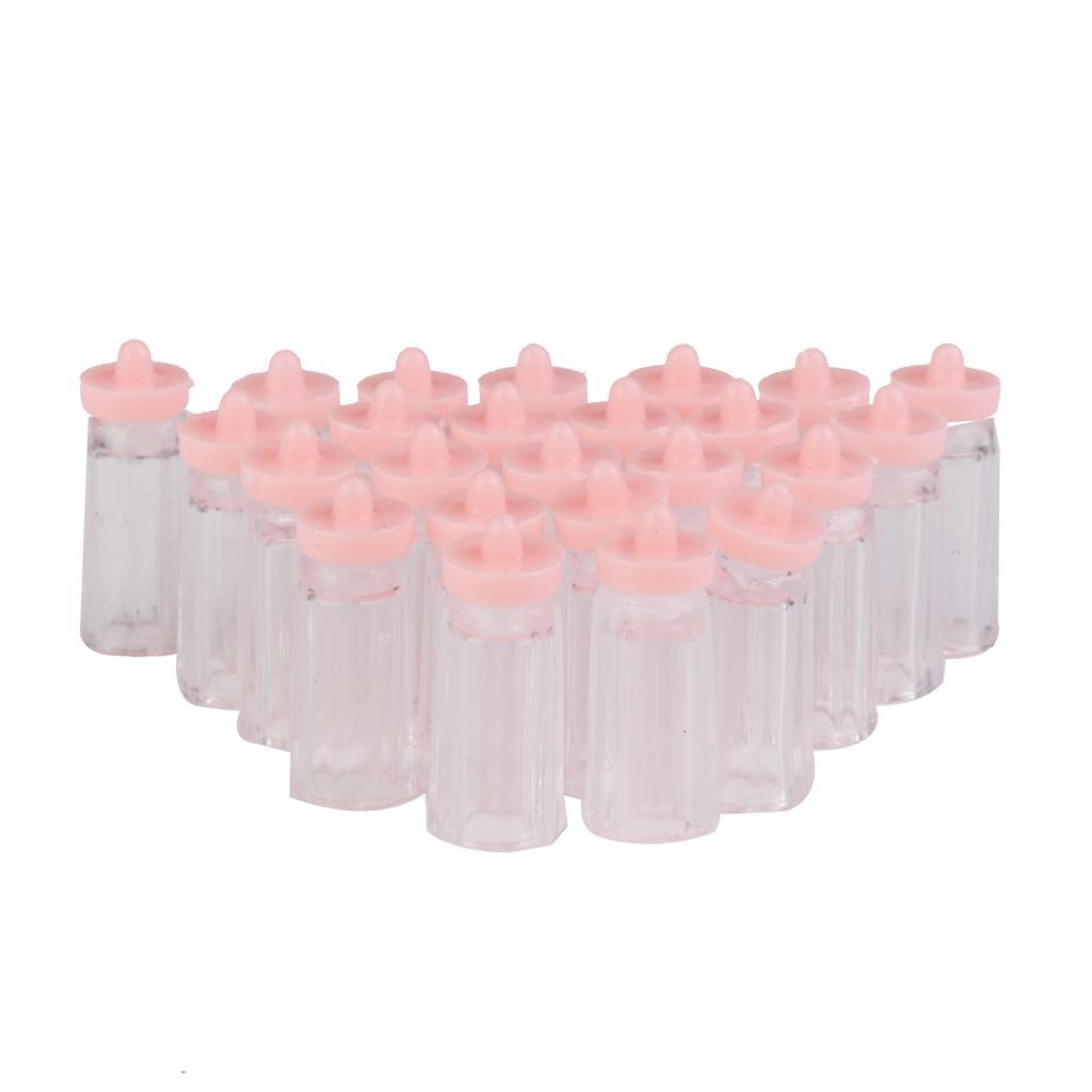 Plastic Mini Baby Milk Bottles Baby Shower Favors 24PCS Pink