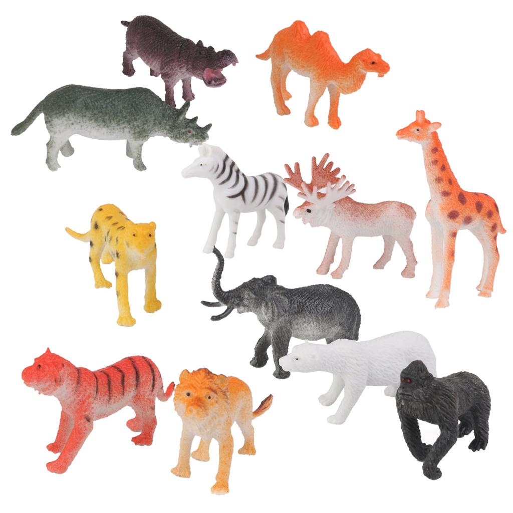 Animals Toys Color : Plastic lion tiger leopard deer bear wild animal model toy