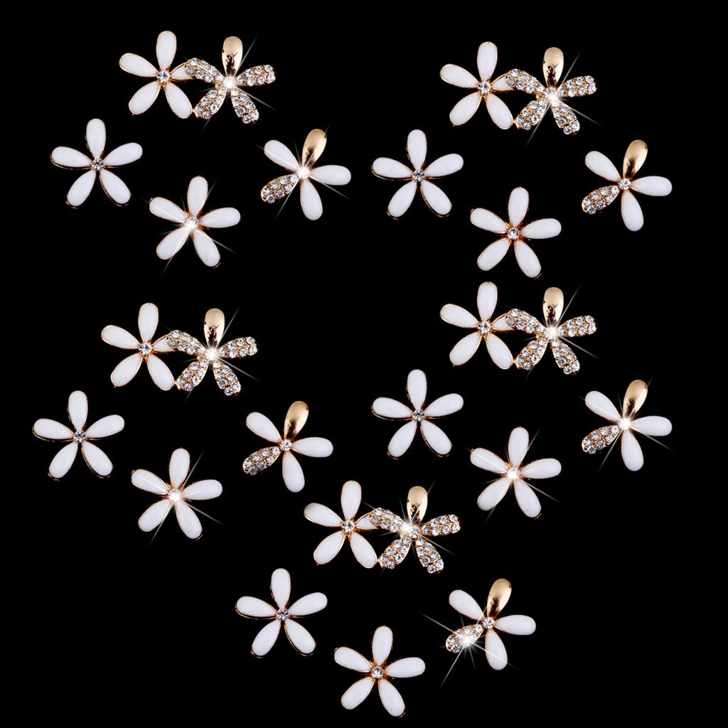 DIY Bling cell Phone Case Deco den kit Crystal flower finding White 25pcs