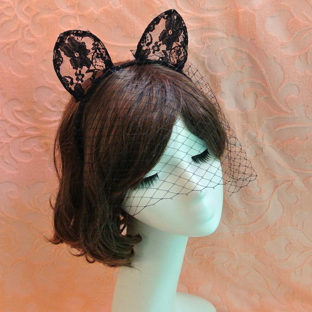 Costume Party Lace Cat Girl Long Ears Veils On Headband Hairband Fancy