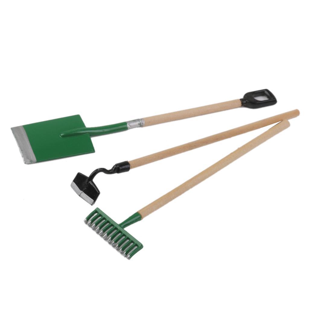 Pack of 6pcs miniature dollhouse garden tools shovel rake for Small garden tools set of 6