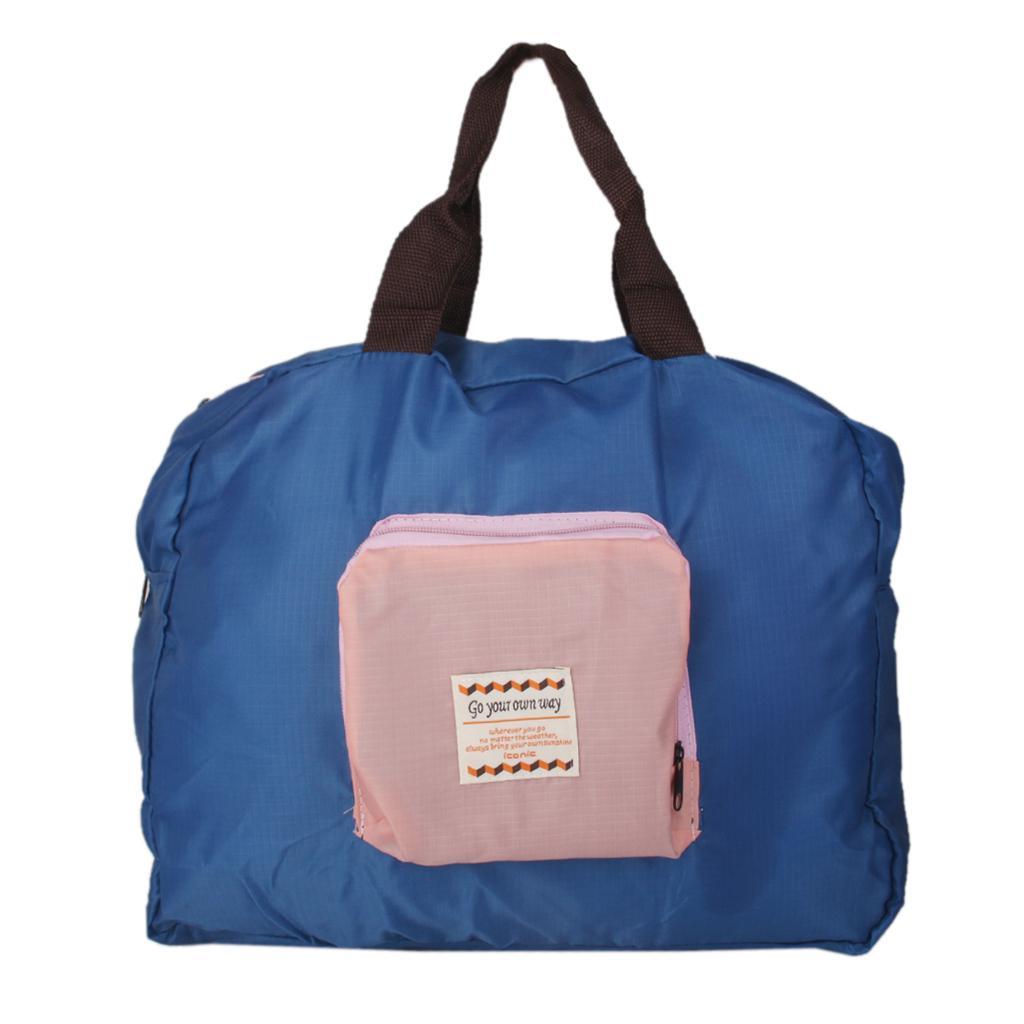 1Pcs Nylon Street Shopper Shoulder Foldable Bag Blue