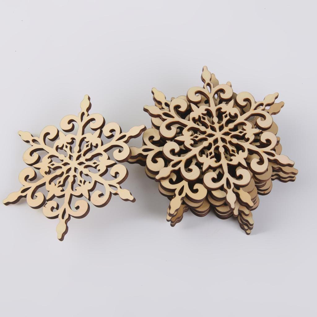10pcs Sharp Hexagon Snowflake Wooden Embellishment Xmas