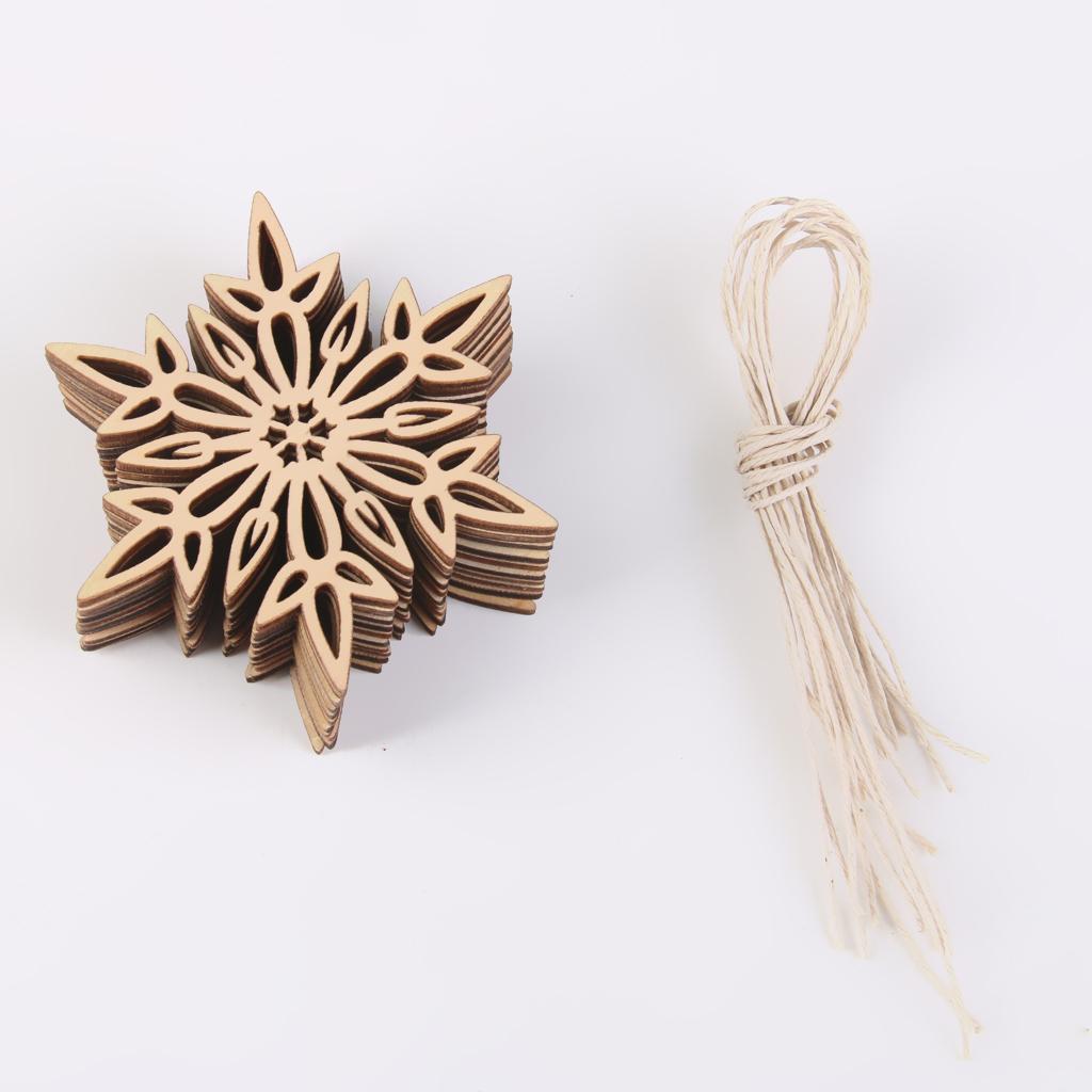 10pcs Sharp Hexagon Snowflake Wooden Embellishment Xmas Tree Decor w. String
