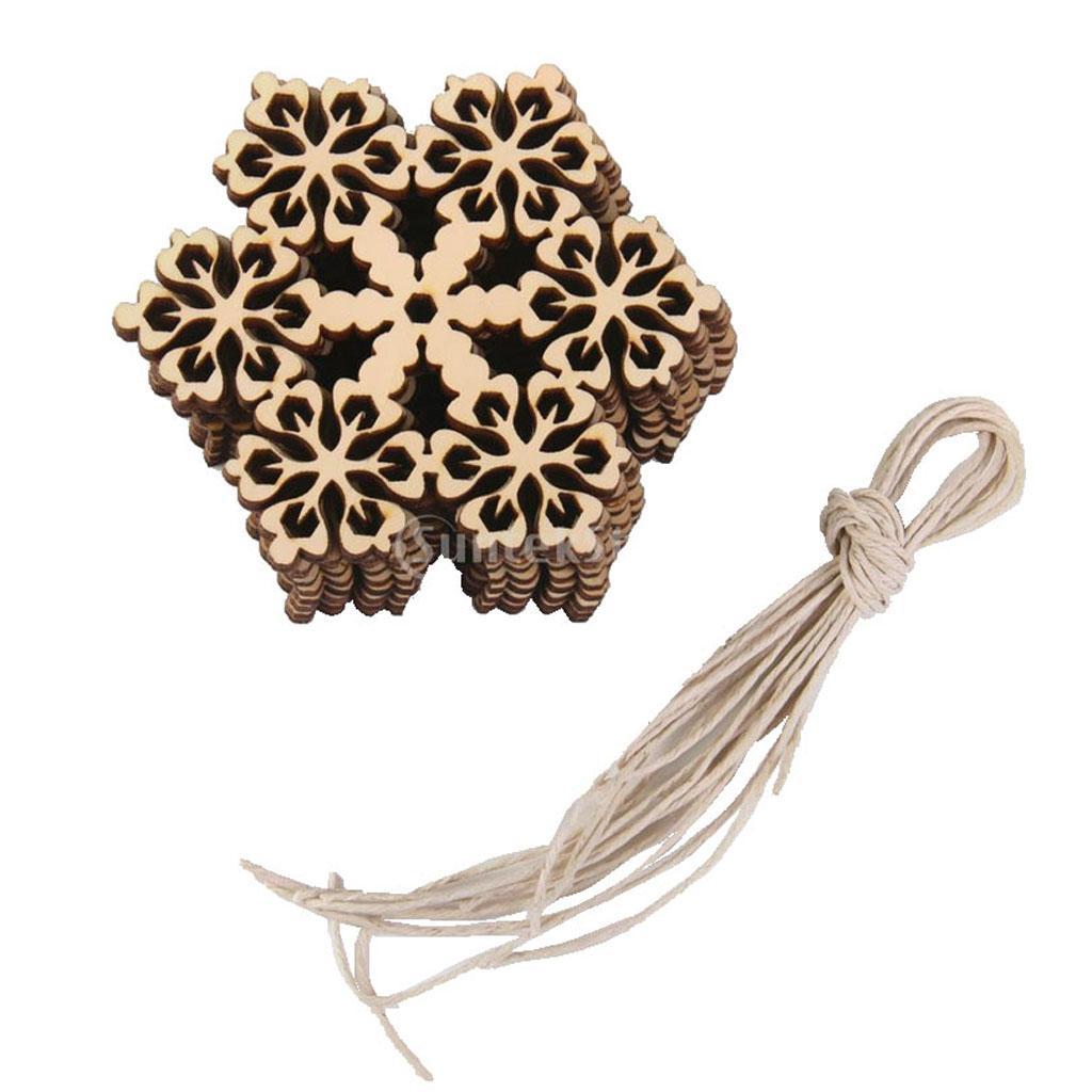 10pcs Round Hexagon Snowflake Wooden Embellishment Xmas Tree Decor w. String