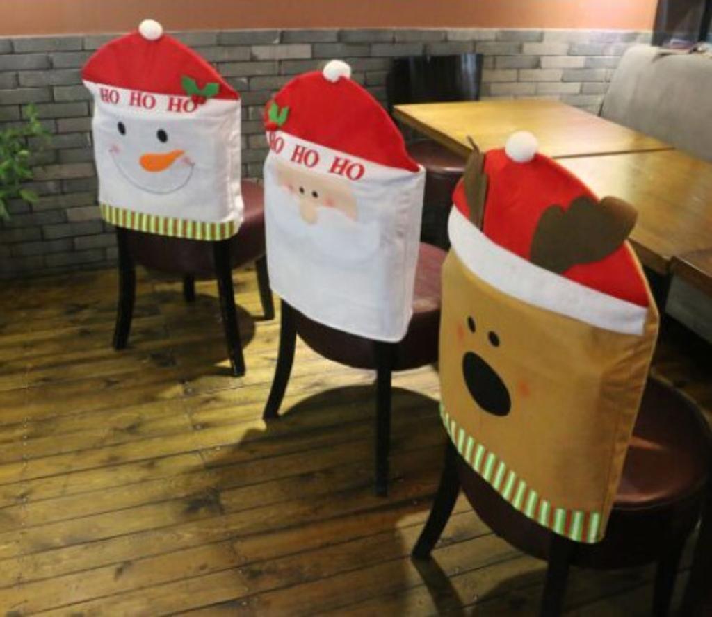 3pcs Christmas Chair Cover Santa Snowman Deer Pattern