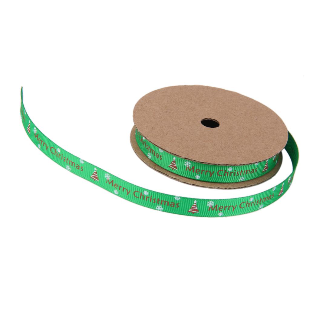 Christmas Ribbon Winter Grosgrain Gift Wrapping Green Merry Christmas