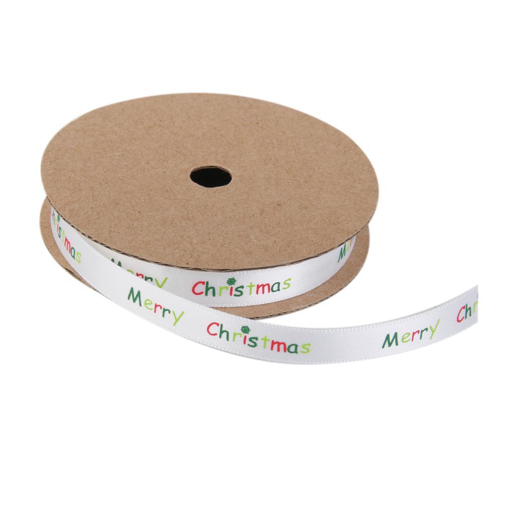 Christmas Ribbon Winter Grosgrain Gift Wrapping White Snowflake