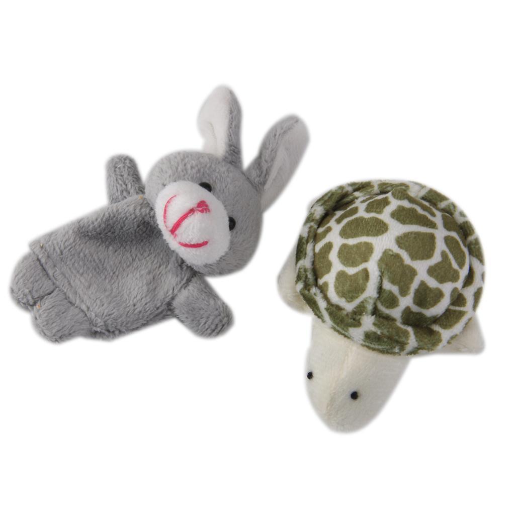 Hare & Tortoise Finger Puppets Plush Baby Kids Educational Hand Toys