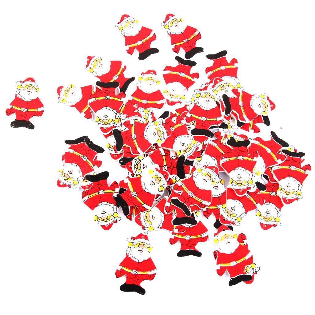 50pcs Christmas Wooden Santa Claus Decoration Xmas Tree Hanging Gift