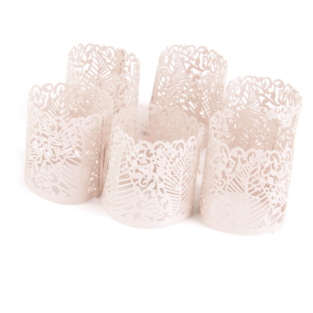 6pcs Led Tea Light Holders Wedding Christmas Decoration leaf pattern Cream