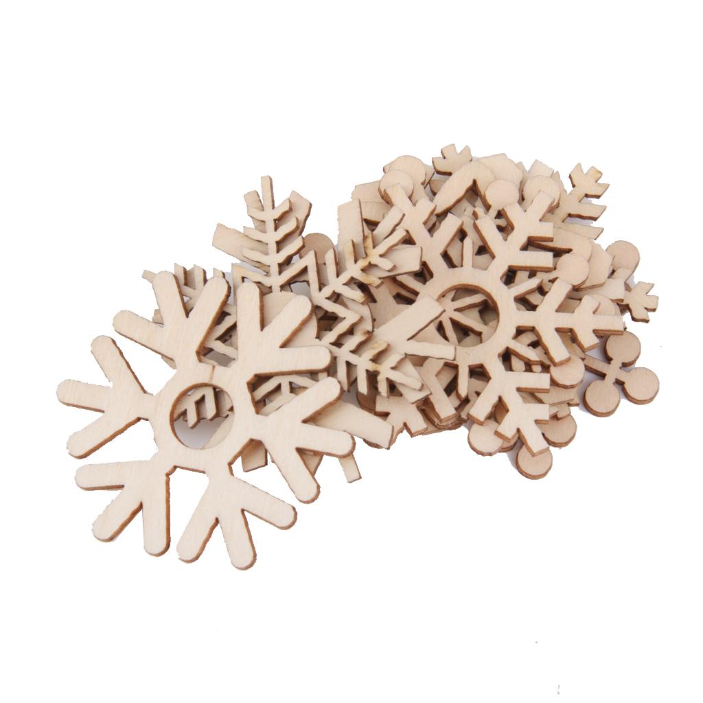 10pcs Assorted Snowflake Shapes Wooden Embellishment Xmas Tree Decor