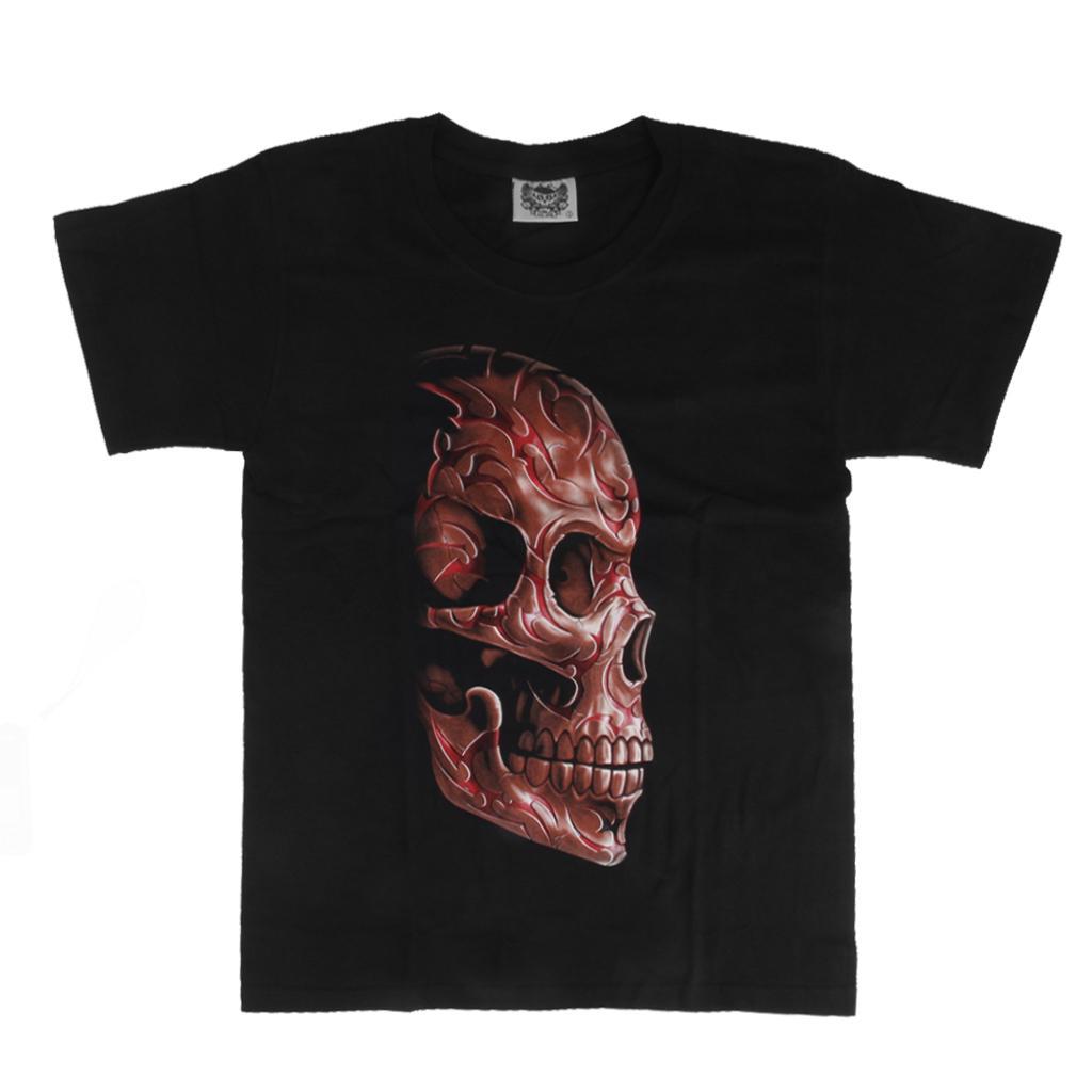 3D Skull Fluorescent Print Mens T-Shirt M