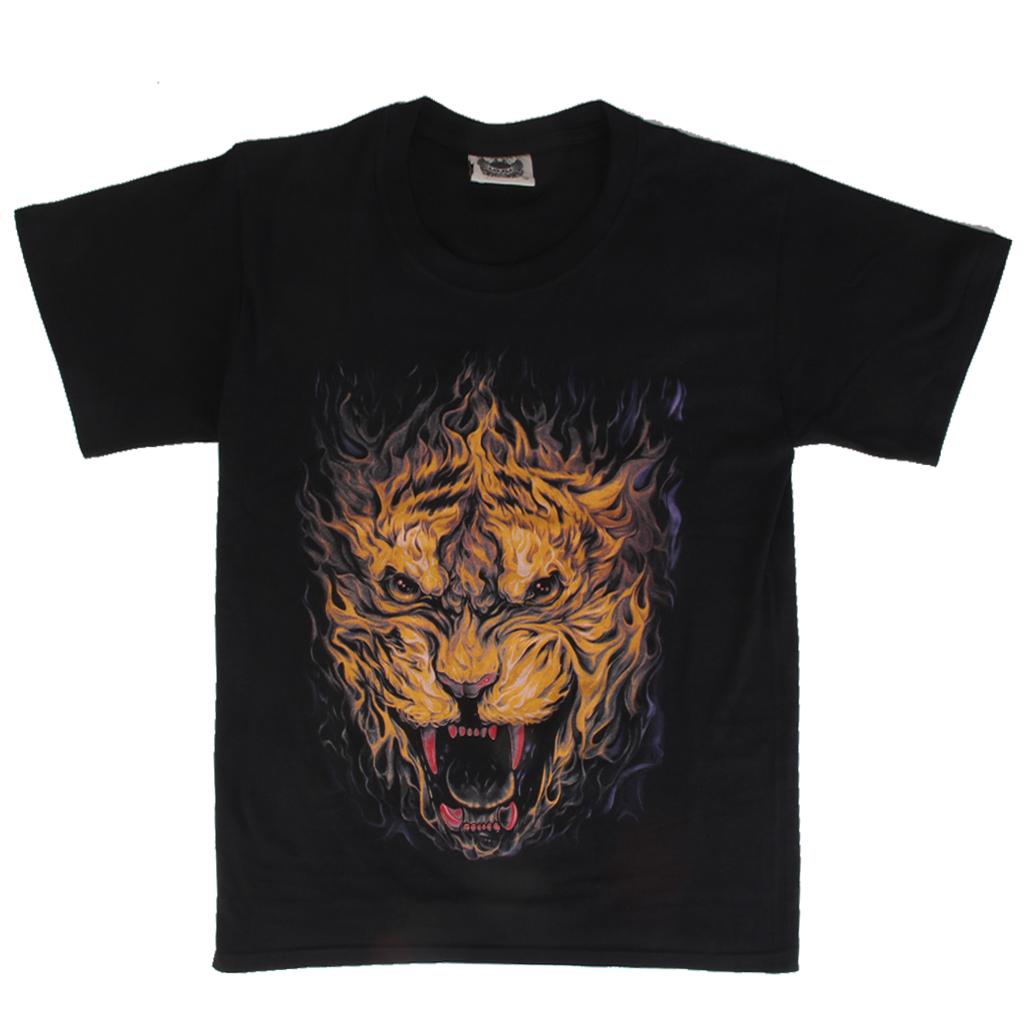3D Lion Head Print Mens T-shirt L