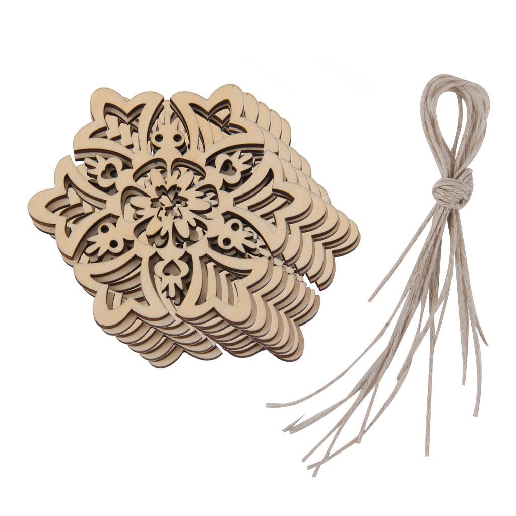 10 Carved Wood Snowflake Christmas Tree Hanging Ornament Tag Xmas Room Decor