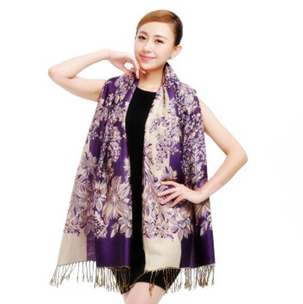 Warm Winter Women Long Cashmere Scarf Large Shawl Lady tassels Scarf Purple