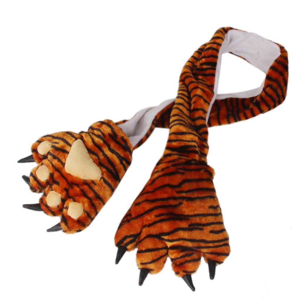 Tiger Bear/ panda/ Rabbit Animal Plush Faux Fur Scarf with Paws & Claws