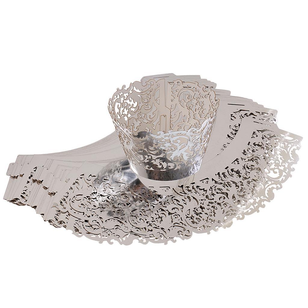 50x Filigree Vine Cupcake Wrapper Case Wedding Birthday Baby Shower Silver