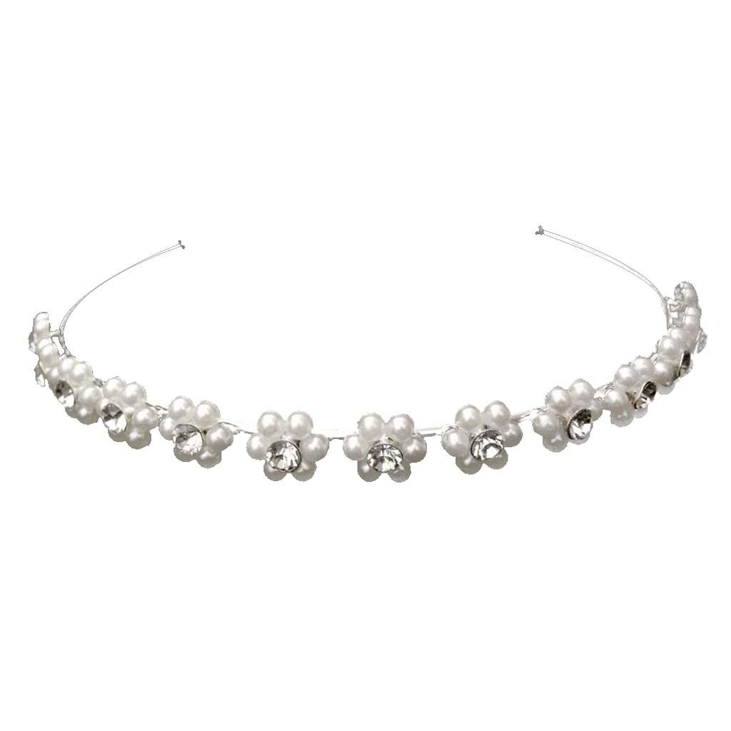 Wedding Bridal Flower Girl Crystal Rhinestone Pearl Headband Crown Tiara