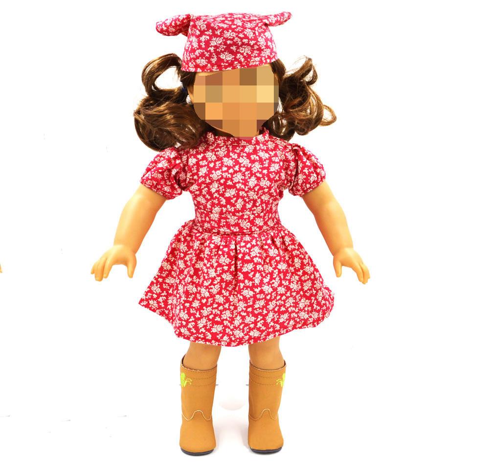 Red Dress with Waistbelt Head Scraf Fit American Doll 18 Inch