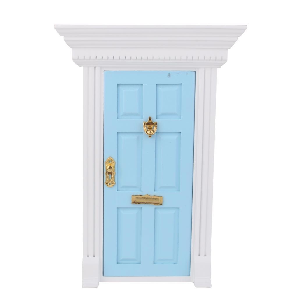 1 12 Dollhouse Miniature Luxury Wooden Blue Exterior Door 6 Panel W Key Free Shipping