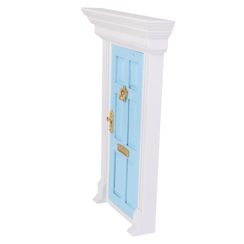 1 12 dollhouse miniature luxury wooden blue exterior door for 12 pane exterior door