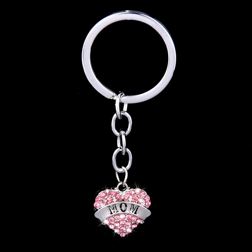 Pink Crystal Rhinestone Heart Pendant Keyring Keychain Key Chain--mom