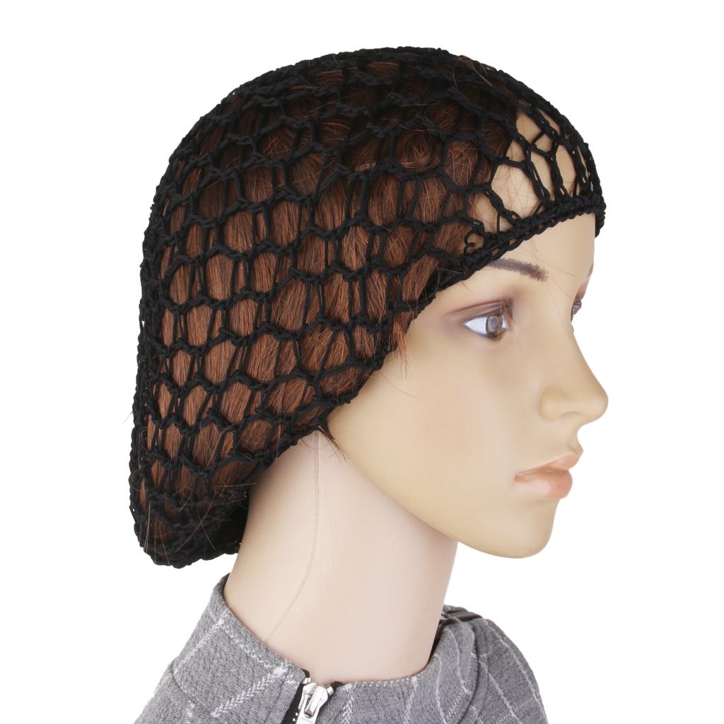 1x Women Soft Rayon Snood Hair Net Crochet Hairnet Cap Black