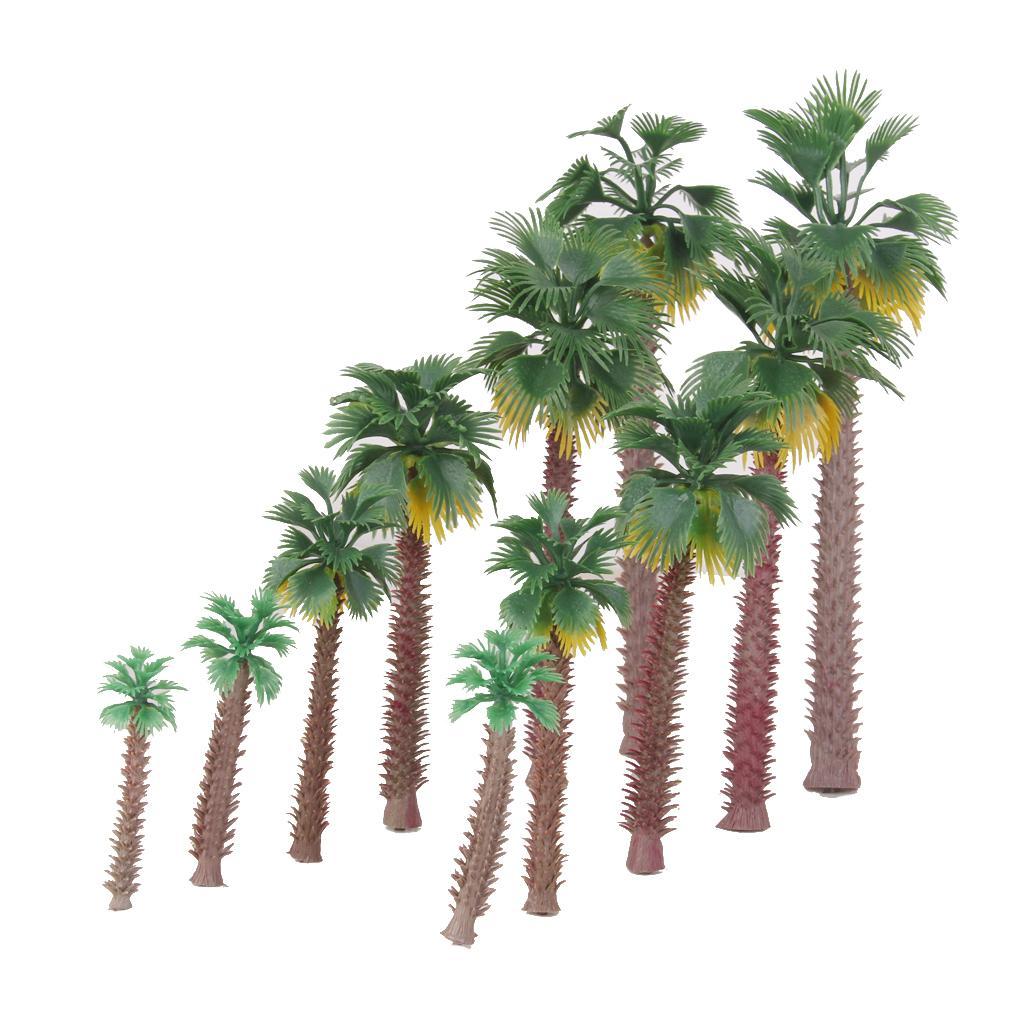 12pcs Layout Model Train Palm Trees Rain Forest Scale 1:45-1:150 6-20CM