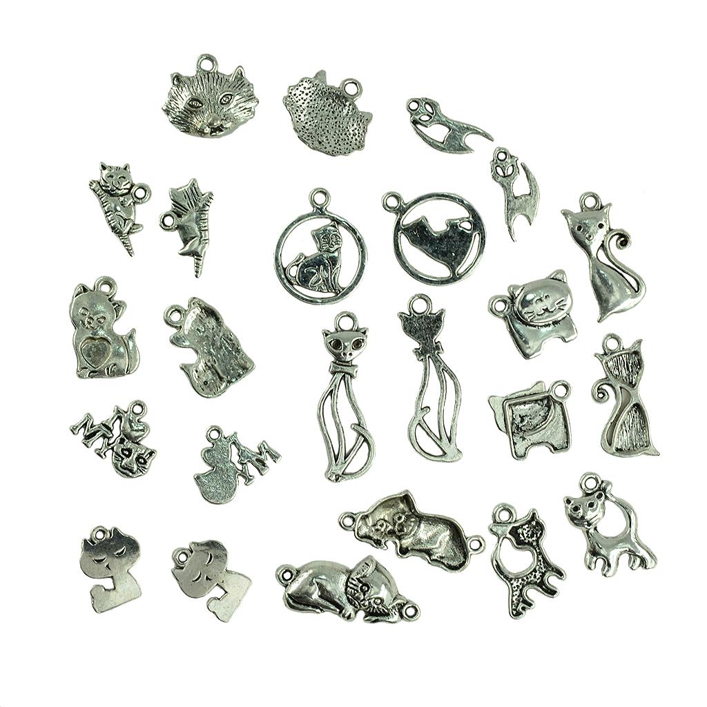 20Pcs Mixed Lots of Antique Silver Tone Cat Charms Pendants