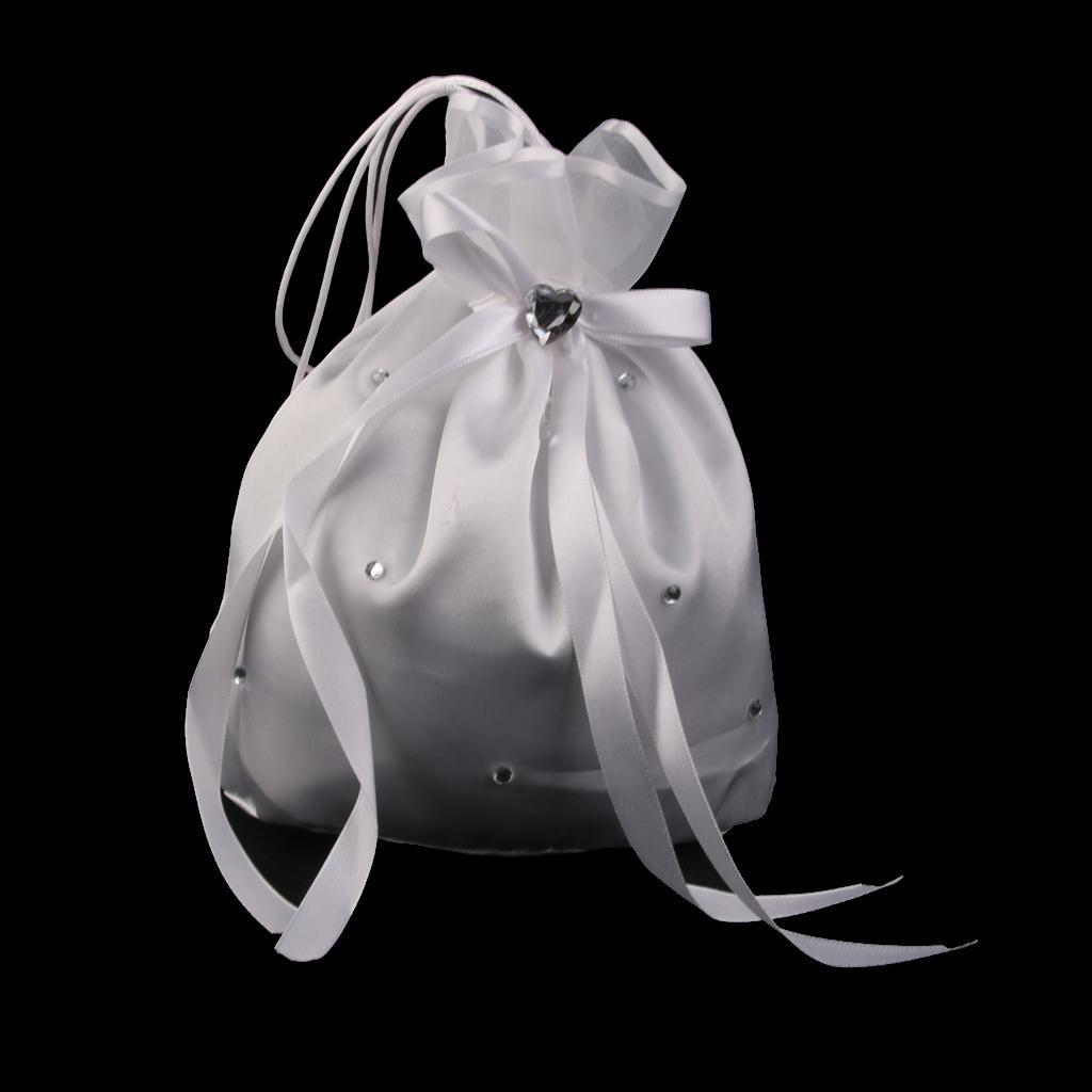 Satin Crystal Rhinestone Wedding Bridal Dolly Bag Handbag White
