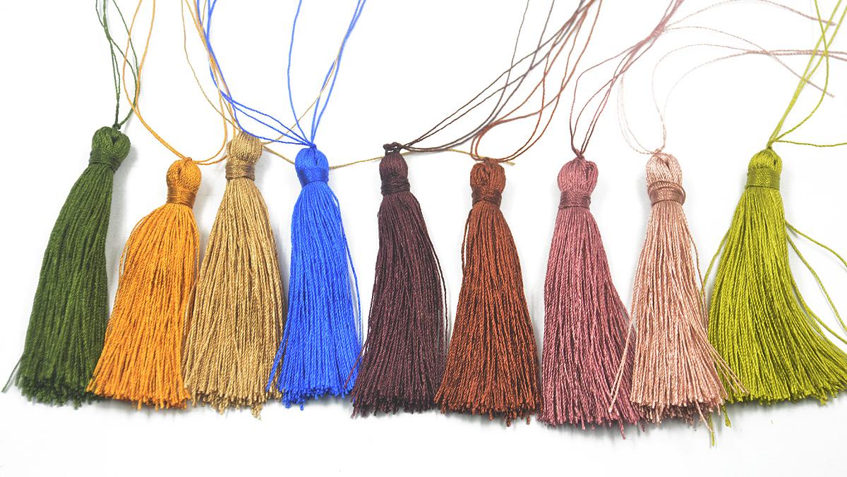 Nylon Tassel Charm Pendants for Bags Key Chains DIY Decor 6cm 12Pcs Colorful