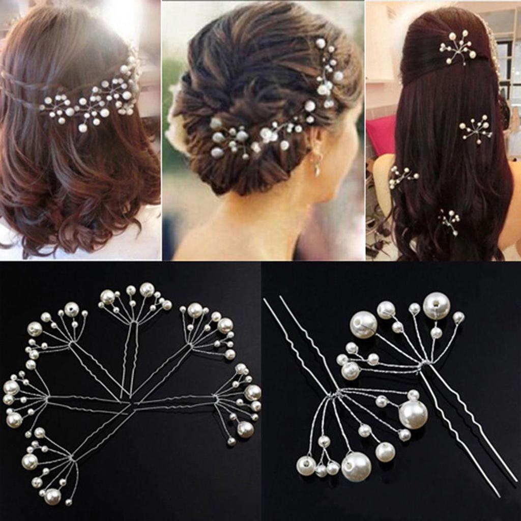 6pcs beige white Wedding Bridal Bridesmaid Pearls Hair Pins Clips Headband