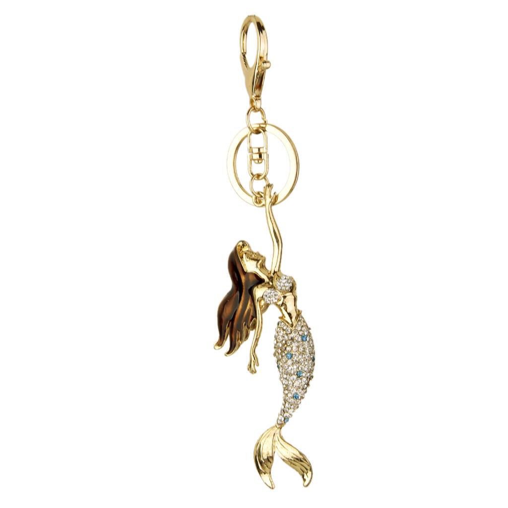 Crystal Rhinestone Mermaid Pendant Keyring Keychain Key Chain