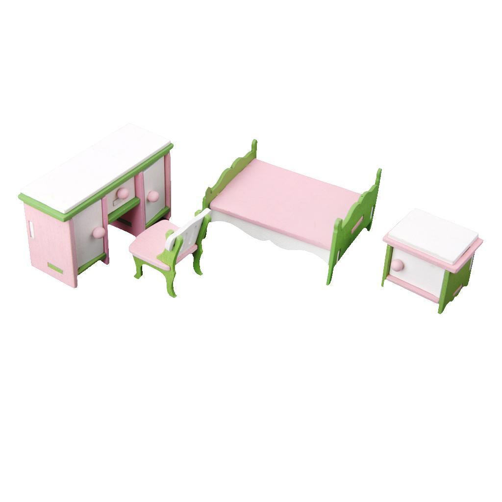 Dollhouse Miniature Furniture Wooden Toy Kids Bedroom Set