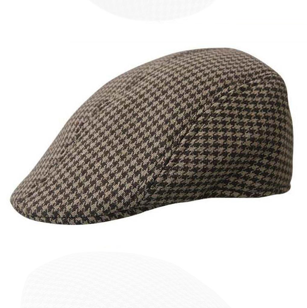 Unisex Cotton Hound Tooth Beret Cap Newsboy Flat Hat--Coffee+Khaki