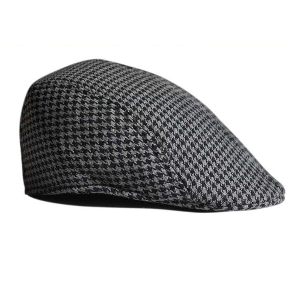 Unisex Adult Cotton Hound Tooth Beret Cap Newsboy Flat Hat--Black+Grey