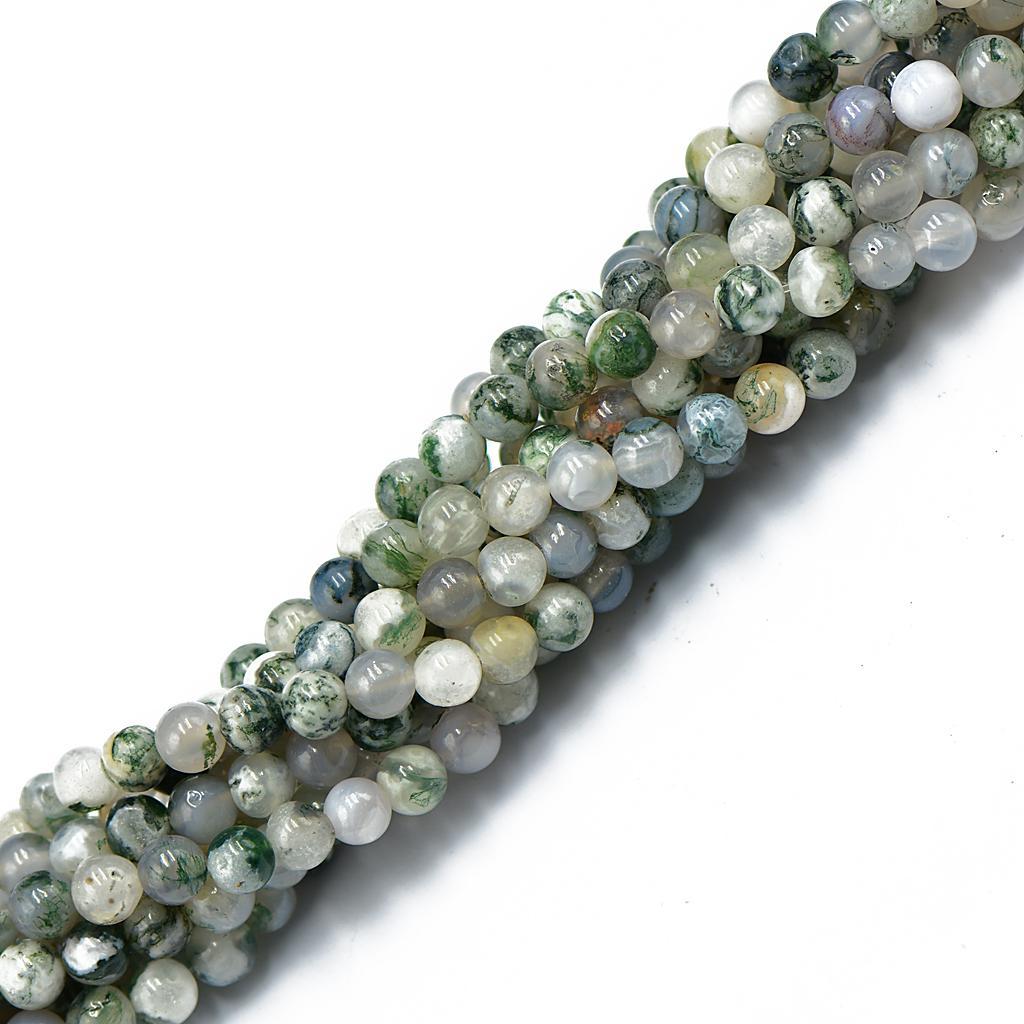 6mm Nature Dark Green Tree Agate Gemstone Round Loose Beads 15''